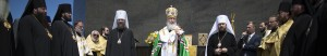 Russian Orthodox Church Patriarch Kirill, center, conducts a religious service in front of the Christ the Redeemer statue marking his visit to the city of Rio de Janeiro, Brazil, Saturday, Feb. 20, 2016. Kirill will also meet with Catholic authorities during his three-day official visit. (AP Photo/Leo Correa)
